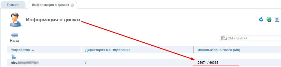 ISPmanager: информация о дисках