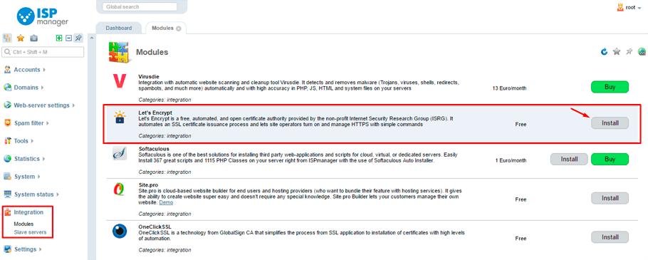 Free Let's Encrypt SSL certificate installation   ISPserver